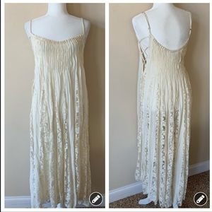 Free People One lace strappy cream midi dress 1719